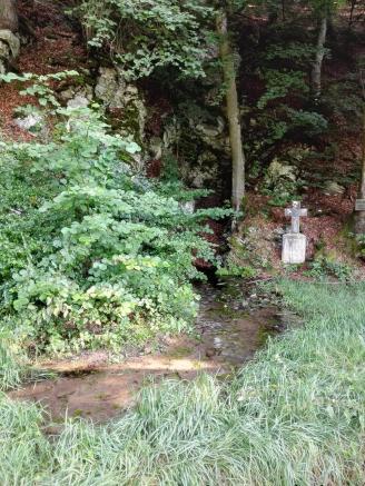 Hier tritt das Wasser als kleiner Bach direkt aus der Felswand aus