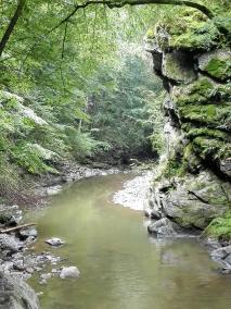 Tief hat sich der Fluss in dem Felsen gegraben