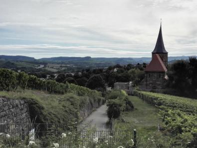 Blick vom Burgweg hinunter zur Kirche von Weinsberg