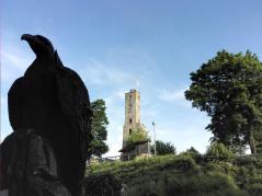 Adler vor der Burgruine