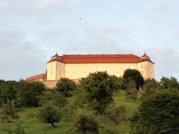 Blick hinauf zum Schloss ob Ellwangen