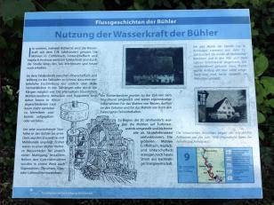 Infotafel zur Nutzung der Wasserkraft an der Bühler