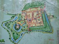 Übersicht der Burg mit der alten Stadt Linn