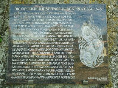 Gedenktafel für die Opfer der Hexenverfolgung