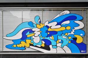 Schaufensterbemalung gegenüber dem Musuem Sculpture Artistiques