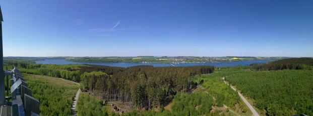 Panoramabild von der Spitze des Möhneseeturms in nördlicher Richtung