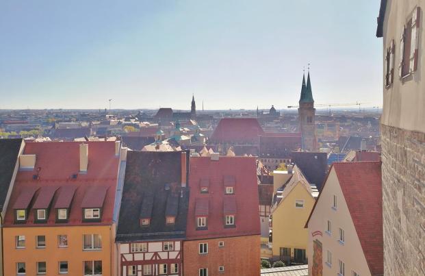 Blick von der Freiung auf die Altstadt von Nürnberg