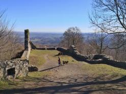 Blick von der Löwenburg in die Ausläufer des Siebengebirges. Dahinter beginnt das Neuwieder Becken