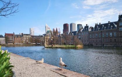 Blick über den Hofweiher zum Binnenhof und dem dahinter liegenden Hochhausviertel