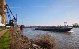 Die Binnenschiffe auf dem Rhein kommen nah an uns heran