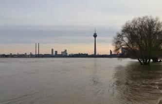 Blick über den Hochwasserführenden Rhein hinüber zur Düsseldorfer Innenstadt