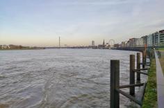 Blick von der Uferpromenade über den Rhein zur Altstadt