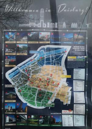 Karte mit den Sehenswürdigkeiten von Duisburg
