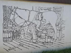 Wandmalerei an der Stallung