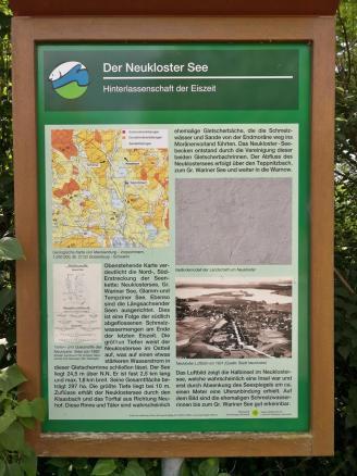 Infotafel zur Entstehung des Neuklostersees in der letzten Eiszeit