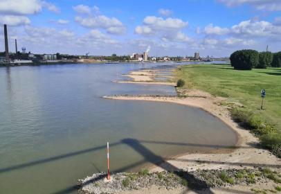 Blick von der Rheinbrücke Neuenkamp auf die Rheinweisen gegenüber von Homberg