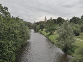 Blick von einer der Emsbrücken Richtung Zentrum