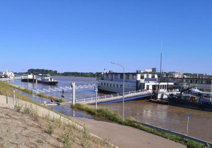 Der Rhein schwappt bereits auf den Uferweg vor dem Deich