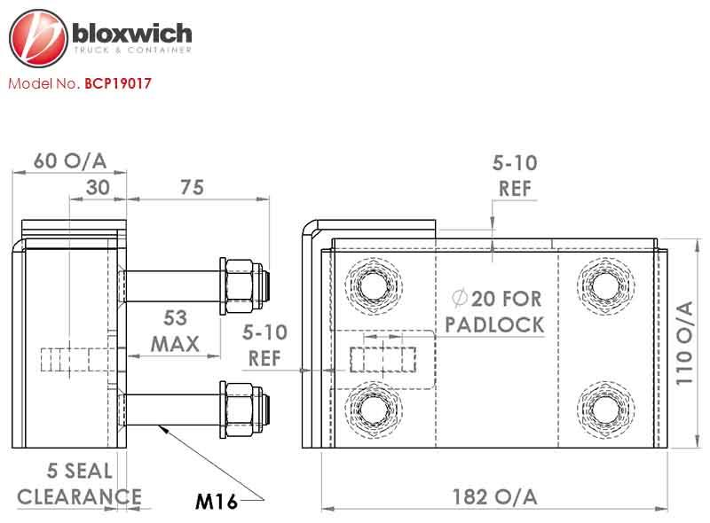 BCP19017 Standard Bolt On ISO Container Lockbox (Seal Type RH)