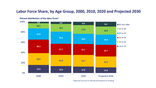 small resolution of labor force share by age group 1996 2006 2016 and projected