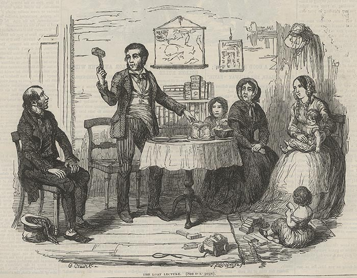 "George Cruikshank (illustrator). ""The Loaf Lecture."" ""British Workman"" 1 (1855): 1."