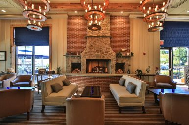 Our cozy lounge has a gourgeous blue stone fireplace