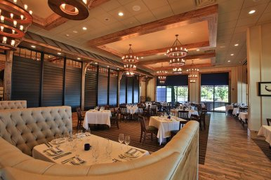 Try fresh fish and prime beef in our dining room