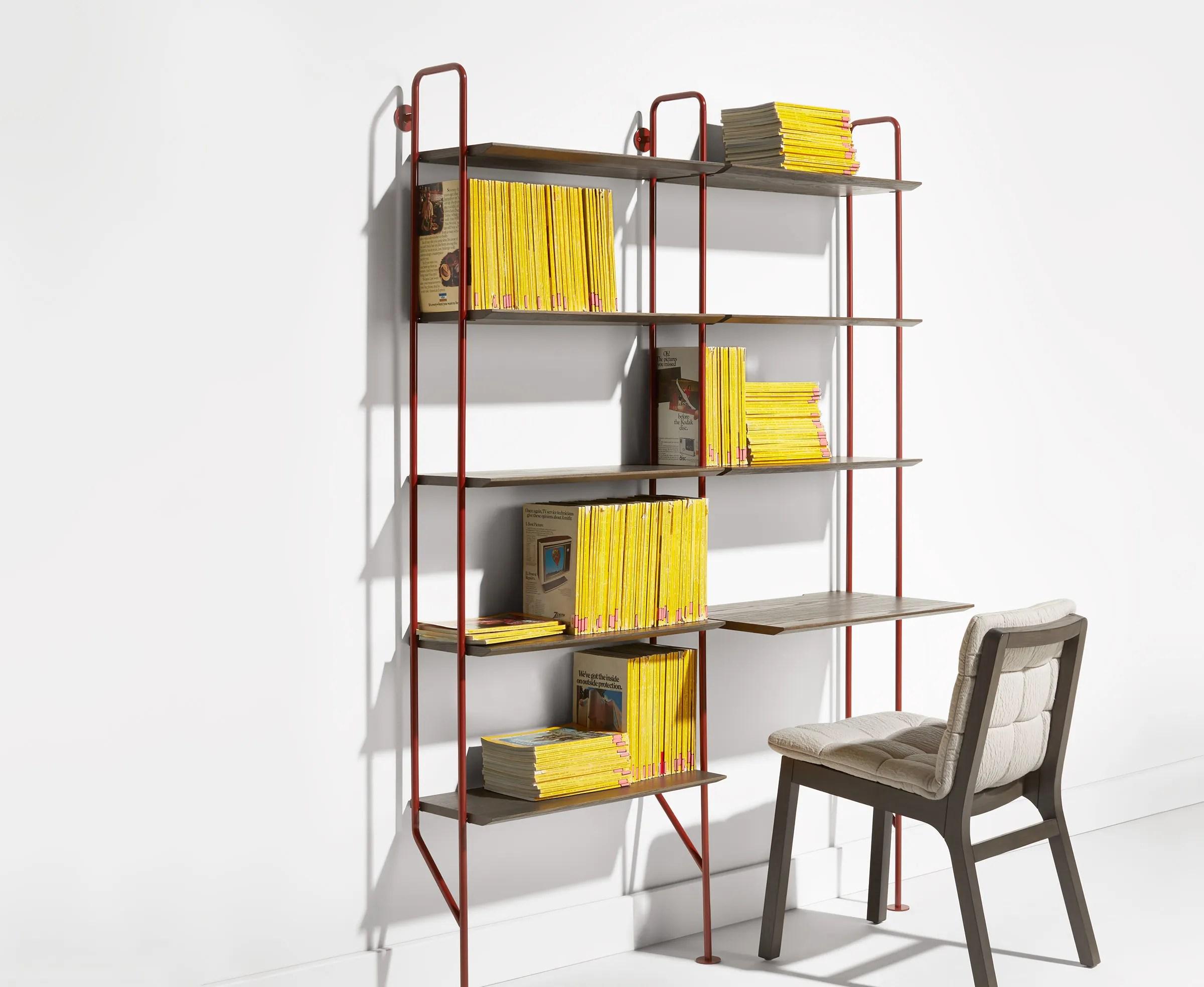 Hitch Bookcase Desk  Ladder Bookcase with Desk  Blu Dot