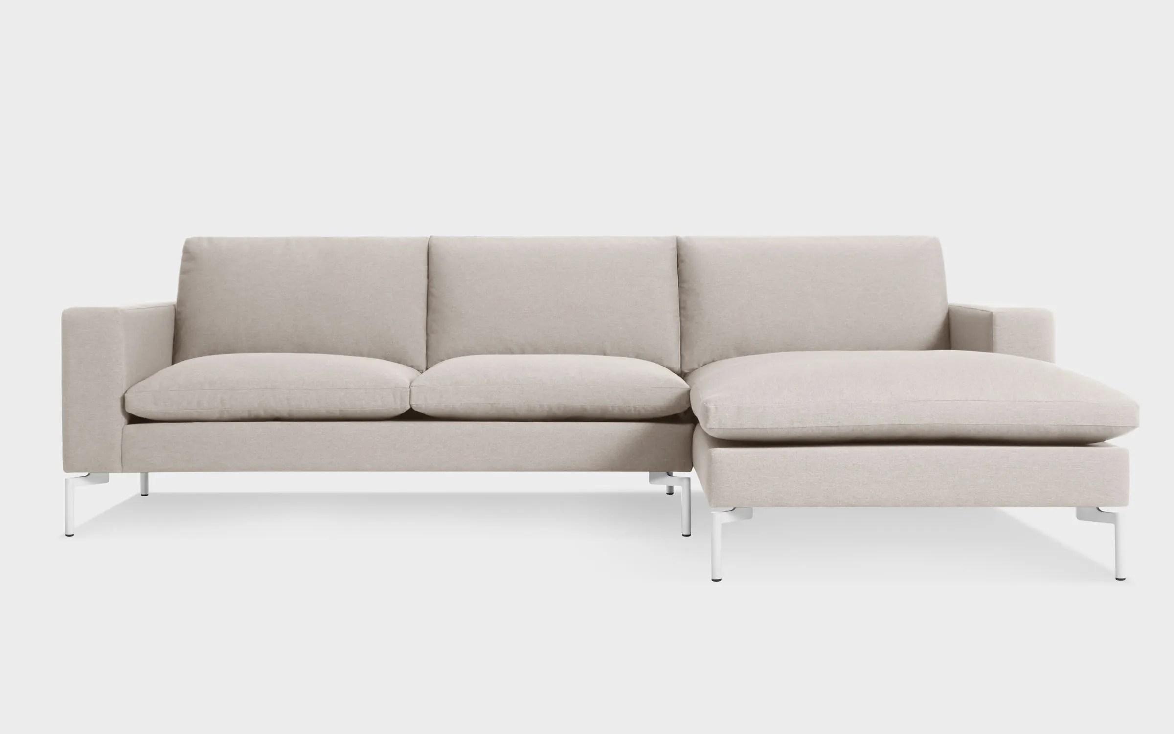 sofa w chaise jual cianjur new standard modern fabric right blu dot arm