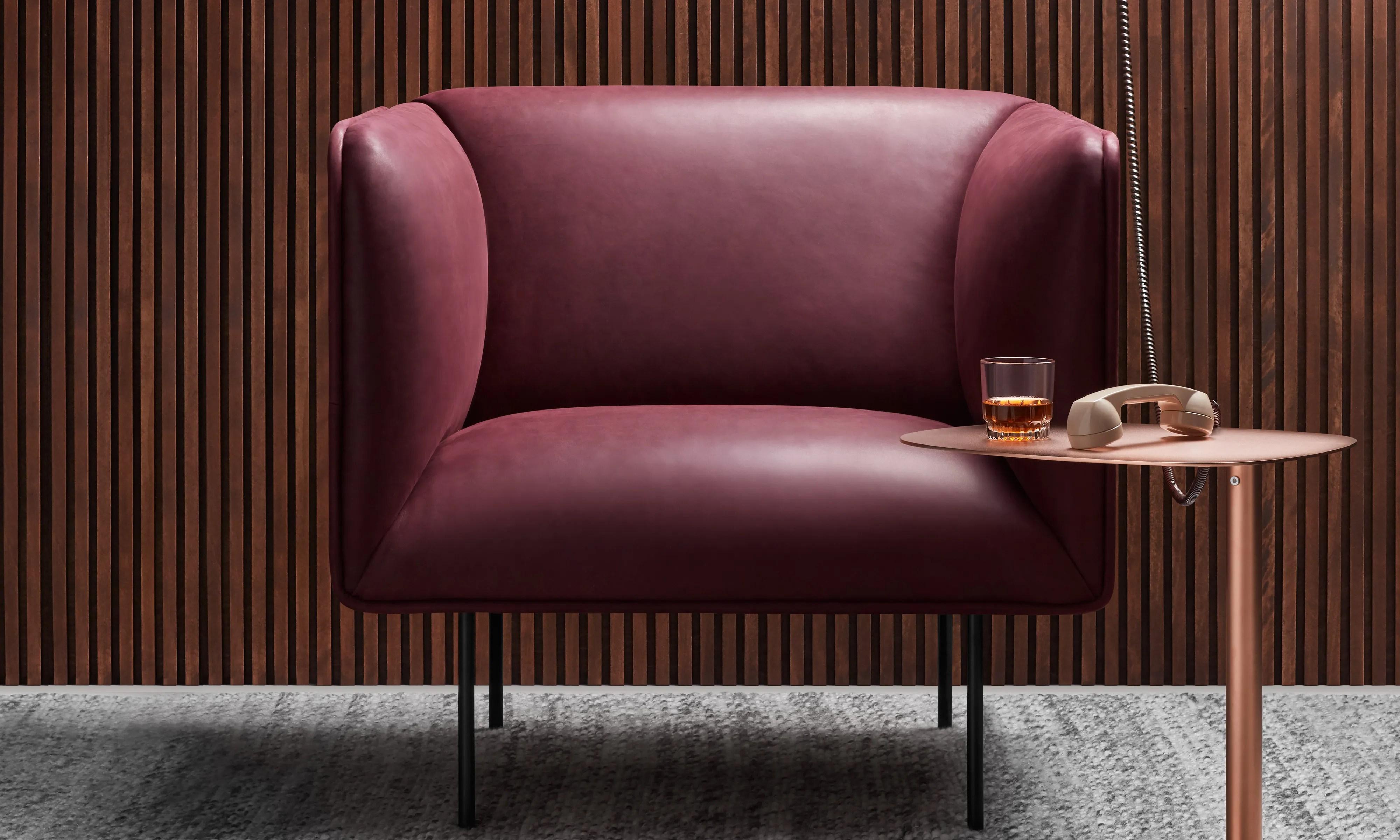 lounge chair leather legs caps dandy modern blu dot