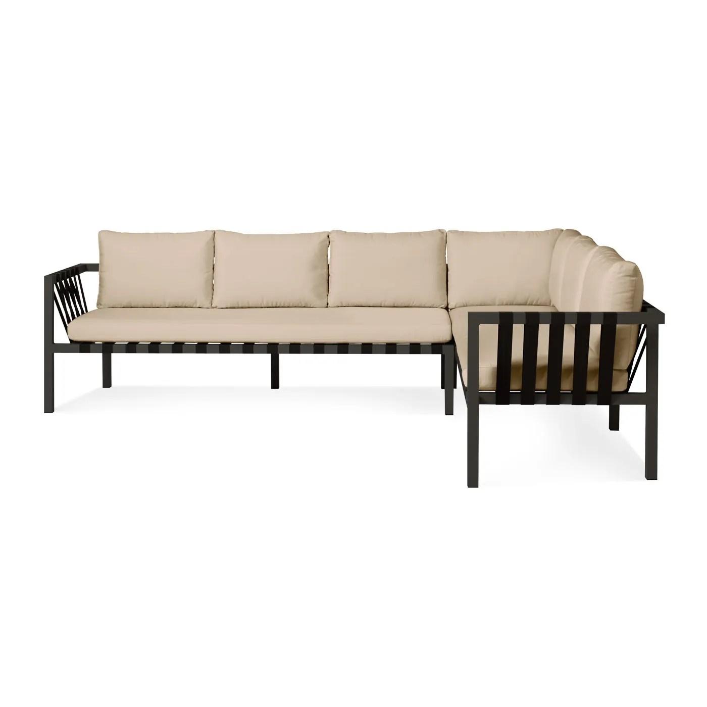 sunbrella fabric sectional sofas orange and black sofa sets jibe 3 seat outdoor modern seating blu dot