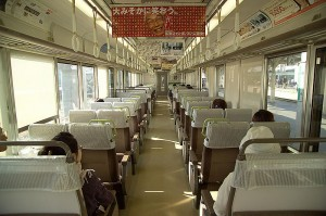 It is very typical interior of Rapid Service trains. (JR West 221 series)