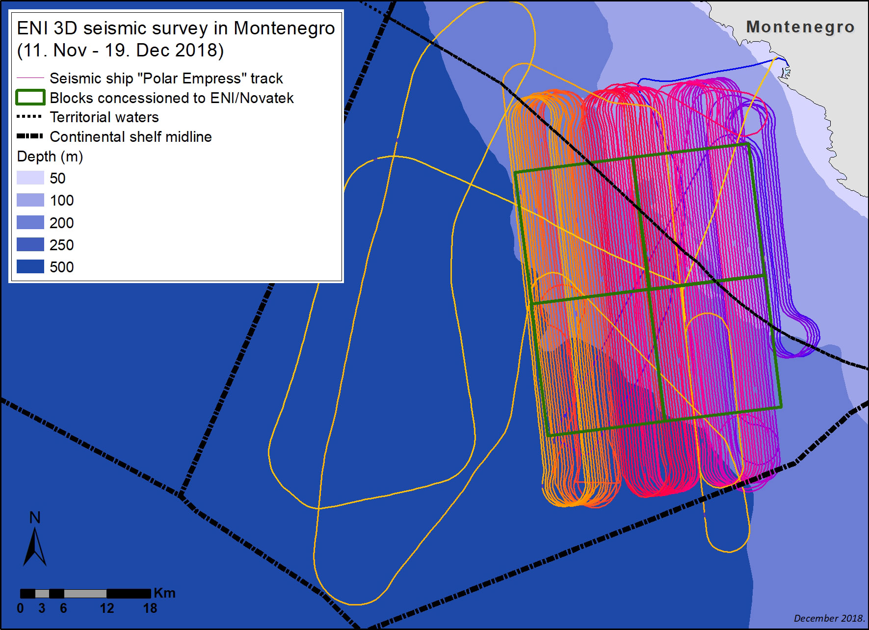hight resolution of the first 3d seismic survey of the sea bed in montenegro has ended the ship polar empress carrying out the survey started from the harbour of bar on the