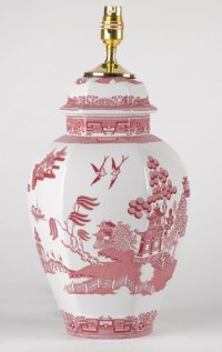 Spode Willow red Table Lamp | Lovers of Blue and White