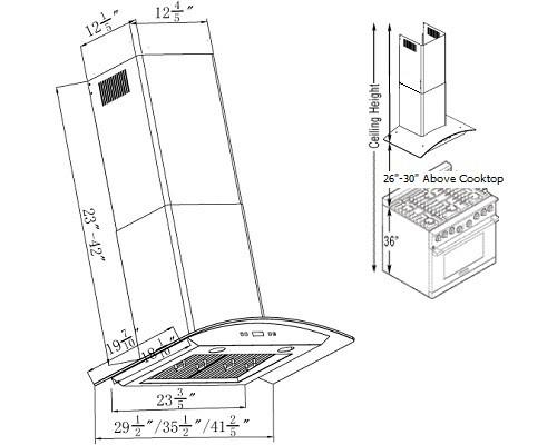 XtremeAir PX01-W36, 36 Inch LED Lights Range Hood For Wall