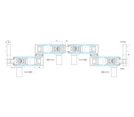 Plan technical drawing four sash Sliding Door
