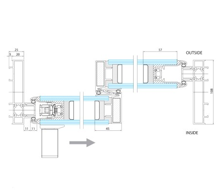 Plan technical drawing Sliding Door