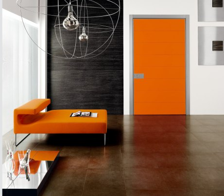 Orange Pivot Security Door