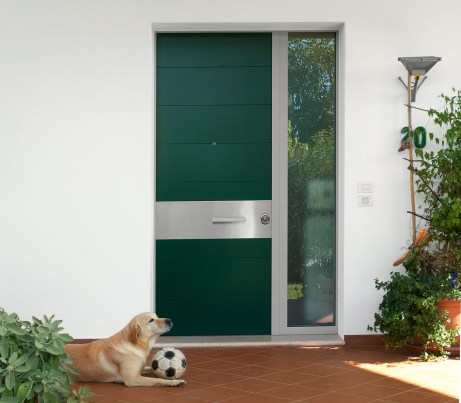 Contemporary Door with bullet proof window