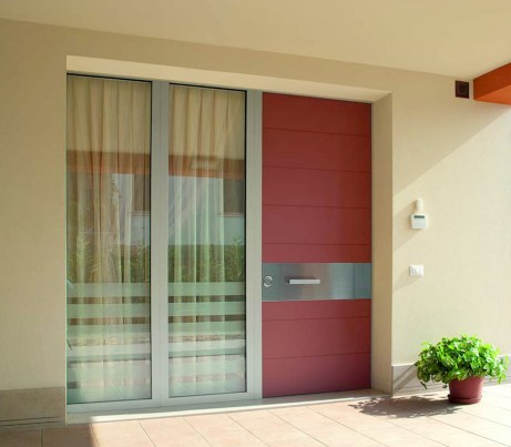 Red Security Door with bullet proof glass