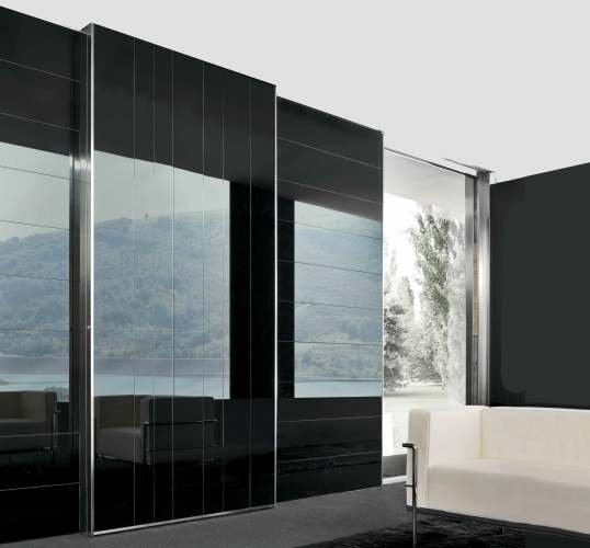 sliding security door in shiny black