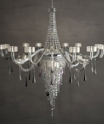 Crystal and glass Chandelier and Standing Light