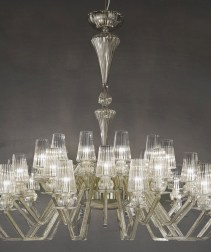 Ornate art-glass and crystal Chandelier
