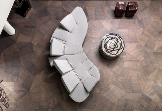 Top down view of slide flooring at zaha hadid