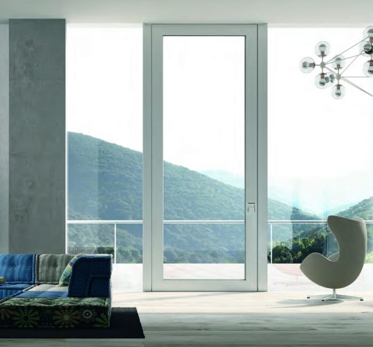 Oikos Doors Glass Pivot Door Nova Pearl White