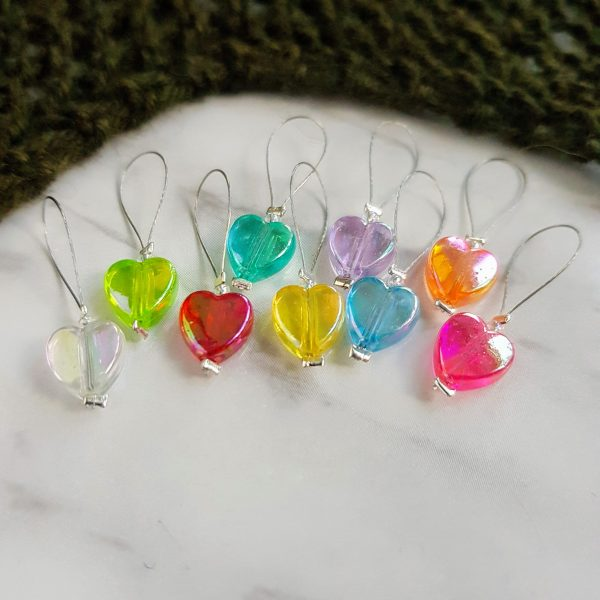 Rainbow heart knitting stitch markers