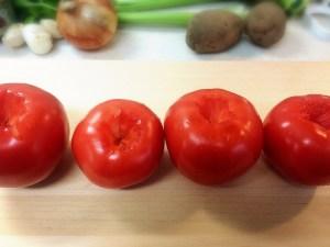 2. De-stem Yoshi-san's tomatoes