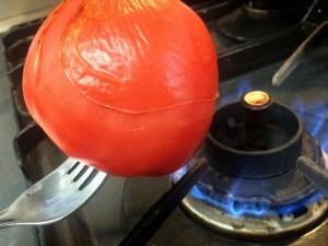 3. De-skin Yoshi-san's tomatoes