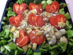 8.切った野菜に焼き型に入れて、もう一度170度で30分間ローストしてください
