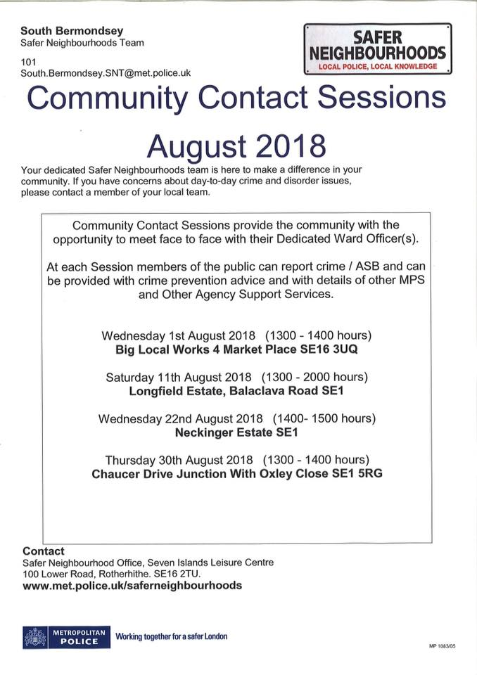 Safer Neighbourhoods Team Community Contact Sessions August 2018